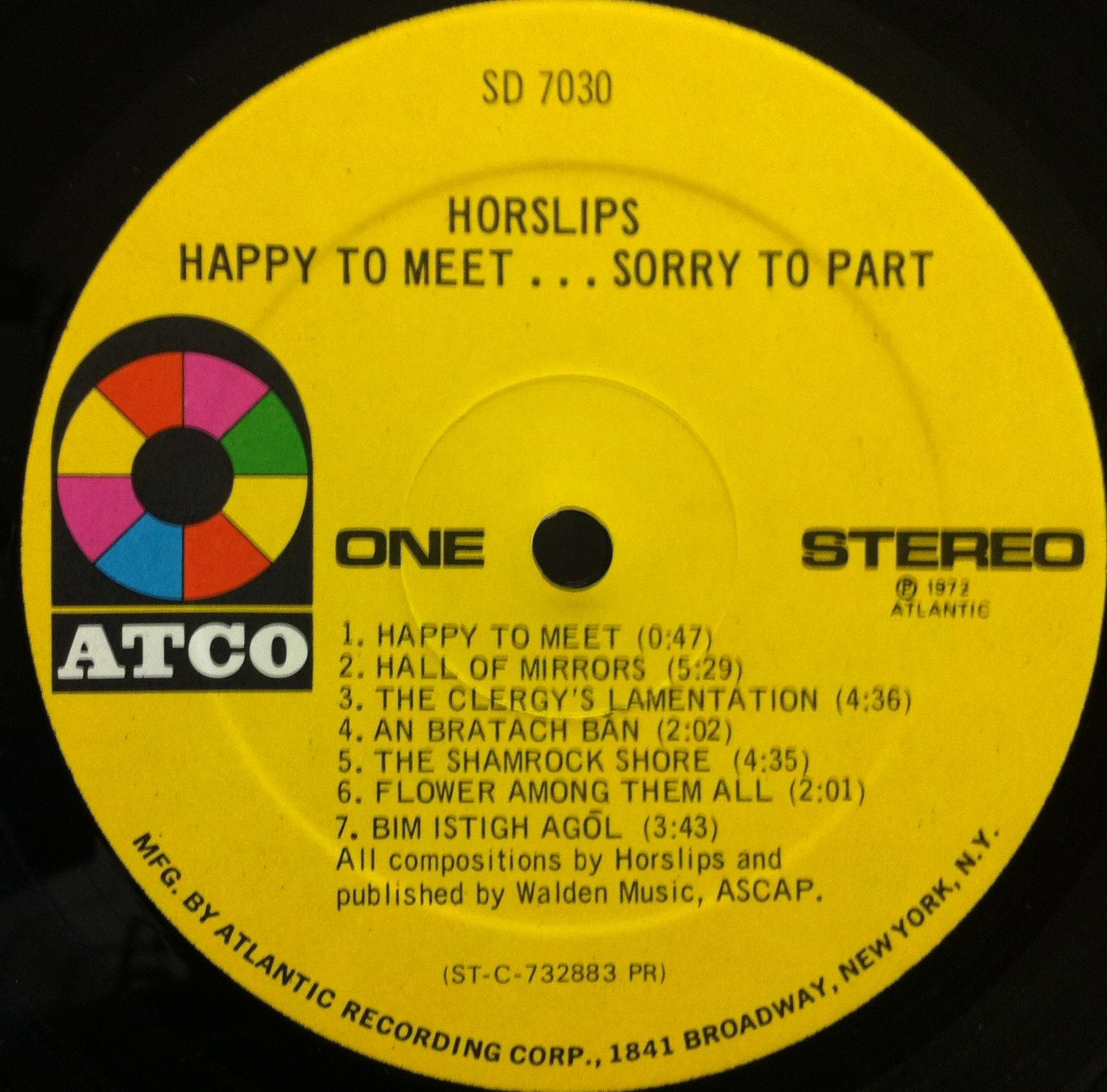 Horslips Happy To MeetSorry To Part