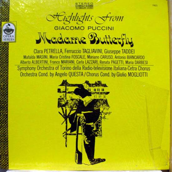 Angelo Questa - Angelo Questa Puccini Madame Butterfly Lp Vg+ Sdbr 7421 Everest Stereo Usa (puccini Madame Butterfly