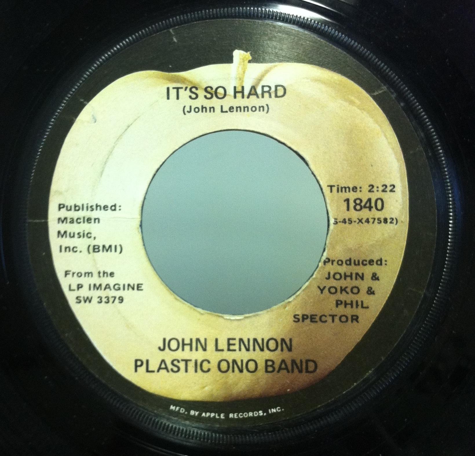 "John Lennon & Plastic Ono Band - John Lennon & Plastic Ono Band Imagine / It's So Hard 7"" Vg Apple 1840 Usa 45 (imagine / It"