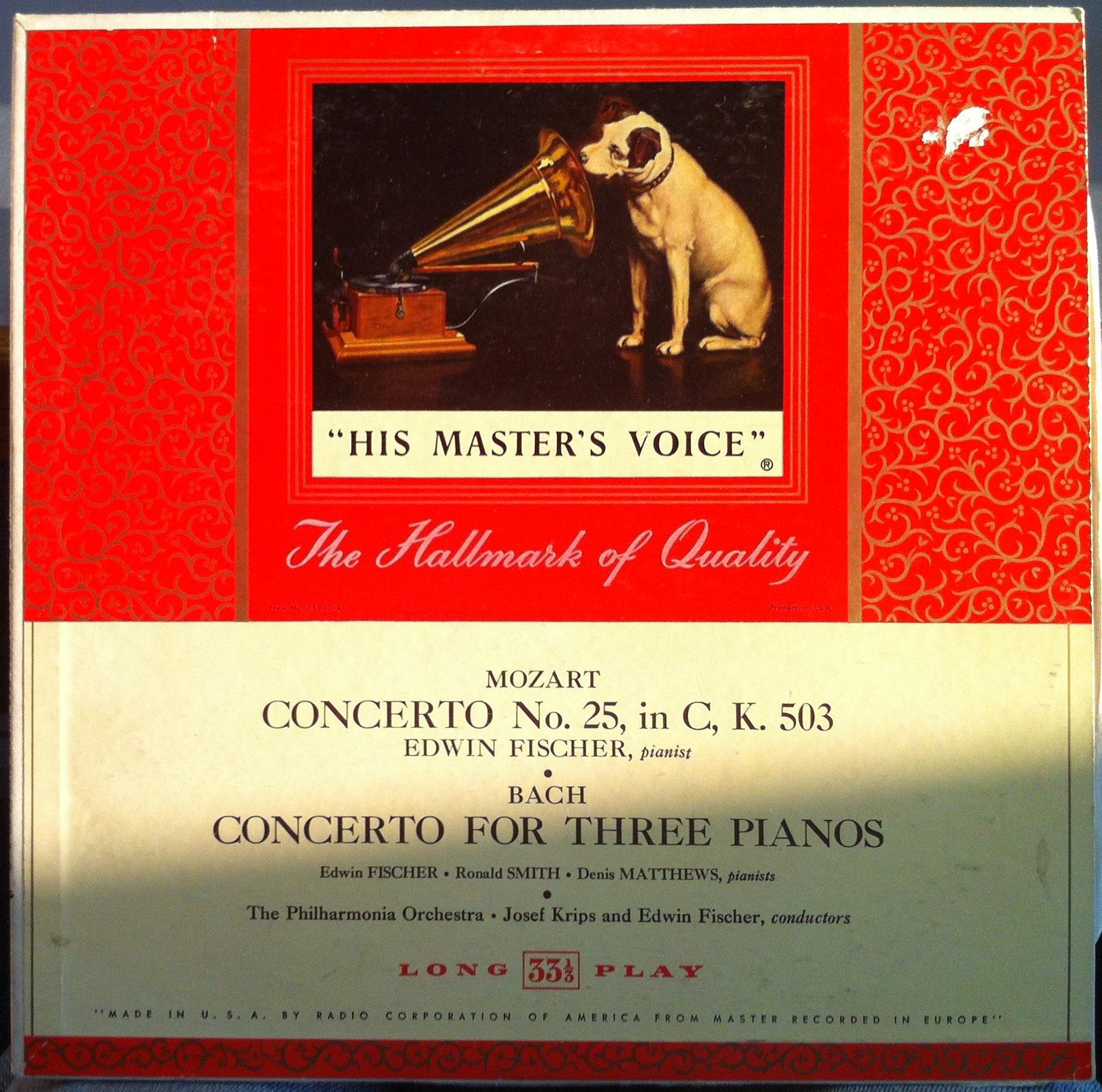 Edwin Fischer Josef Krips Mozart Bach Concertos Lp Vg