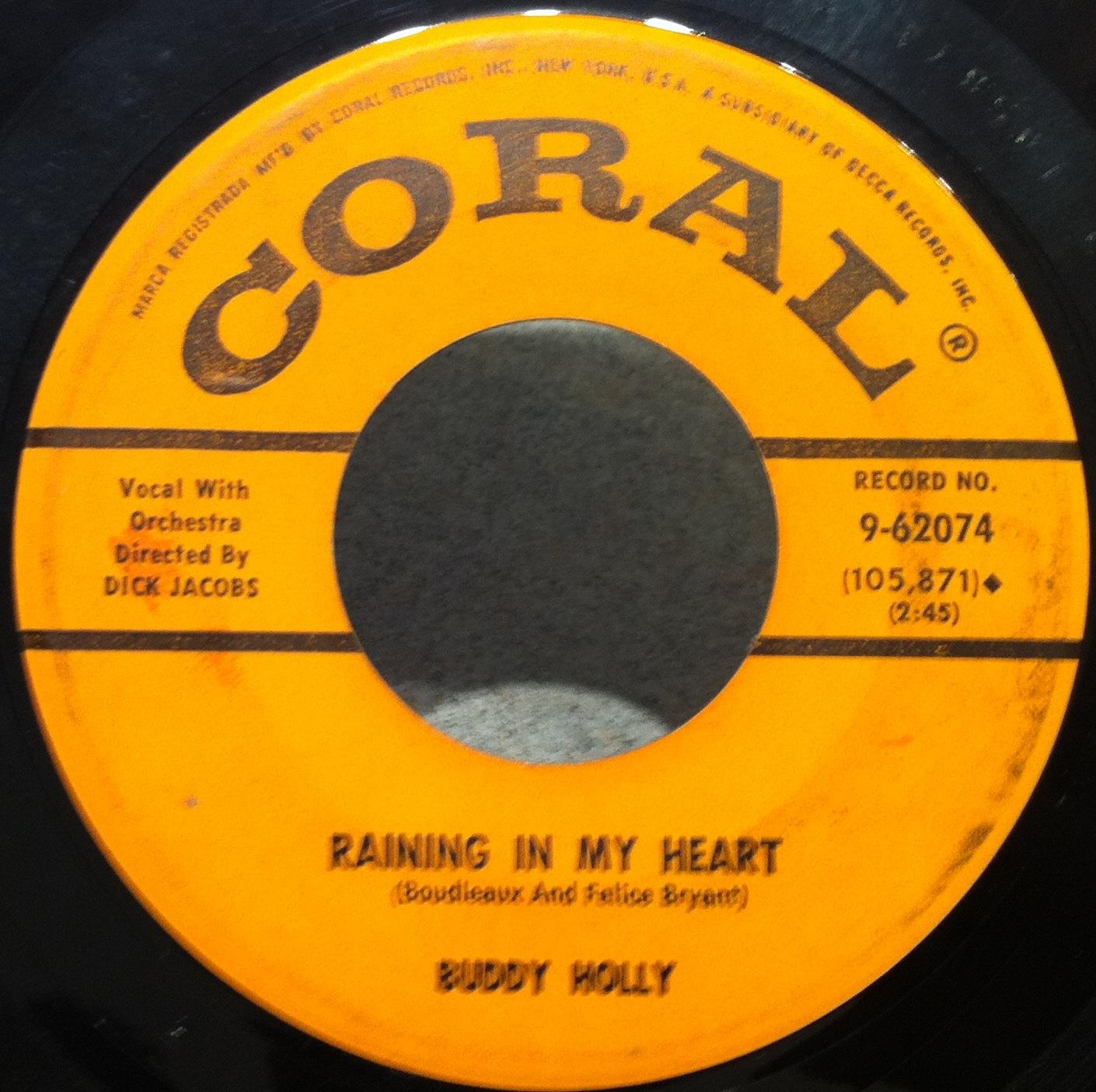 "BUDDY HOLLY - Buddy Holly It Doesn't Matter Anymore - Raining In My Heart 7"" Vg Coral 9 62074 (it Doesn't Mat"