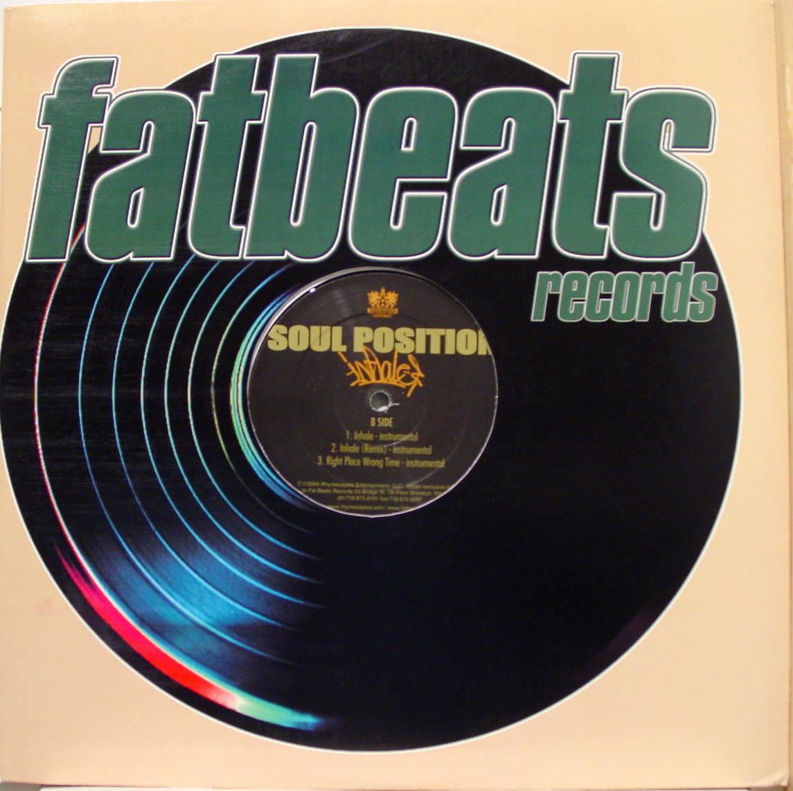 "SOUL POSITION - Soul Position Inhale 12"" Vg+ 59123 2513 1 Vinyl 2004 Record (inhale)"