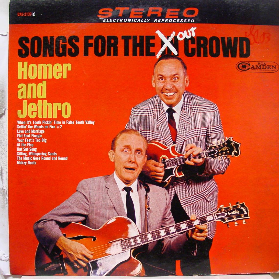 HOMER & JETHRO - Homer & Jethro Songs For The Out Crowd Lp Cas 2137 Vg+ 1967 Vinyl Record 1s4s (songs For The Out