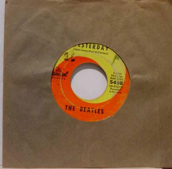 "Beatles - The Beatles Yesterday / Act Naturally 7"" Vg Capitol 5498 Vinyl 1965 Mono Usa 45 (yesterday / Ac"