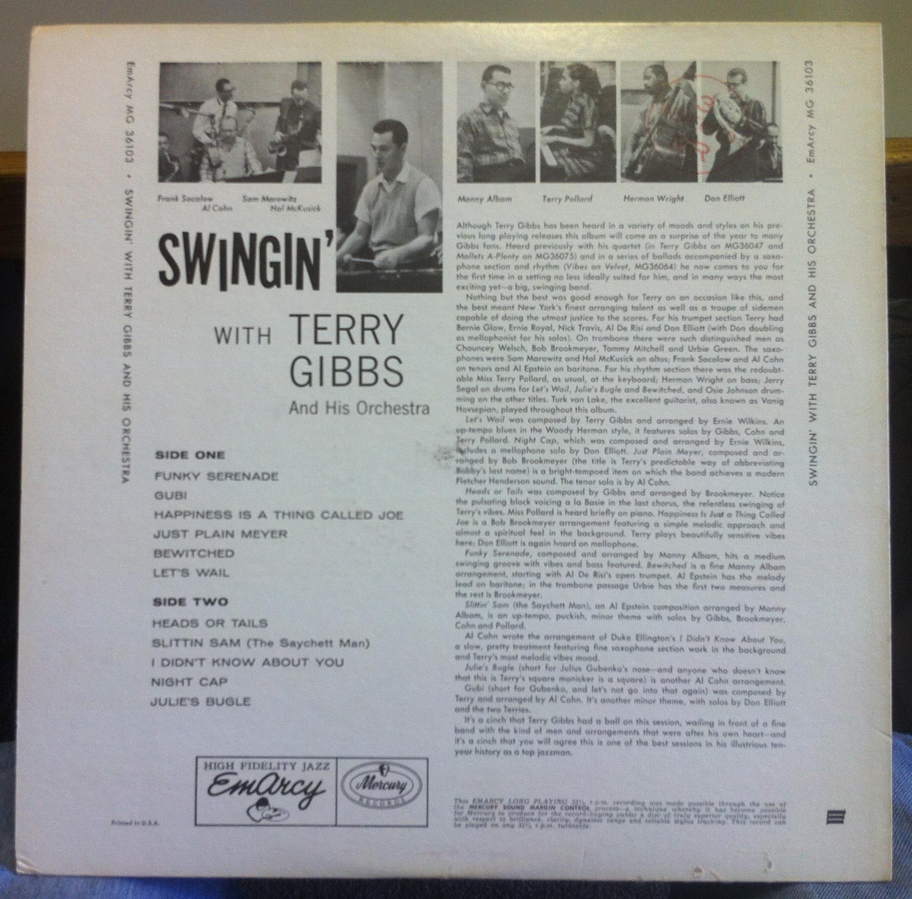 Terry Gibbs Amp His Orchestra Swingin With Lp Mint Mg 36103