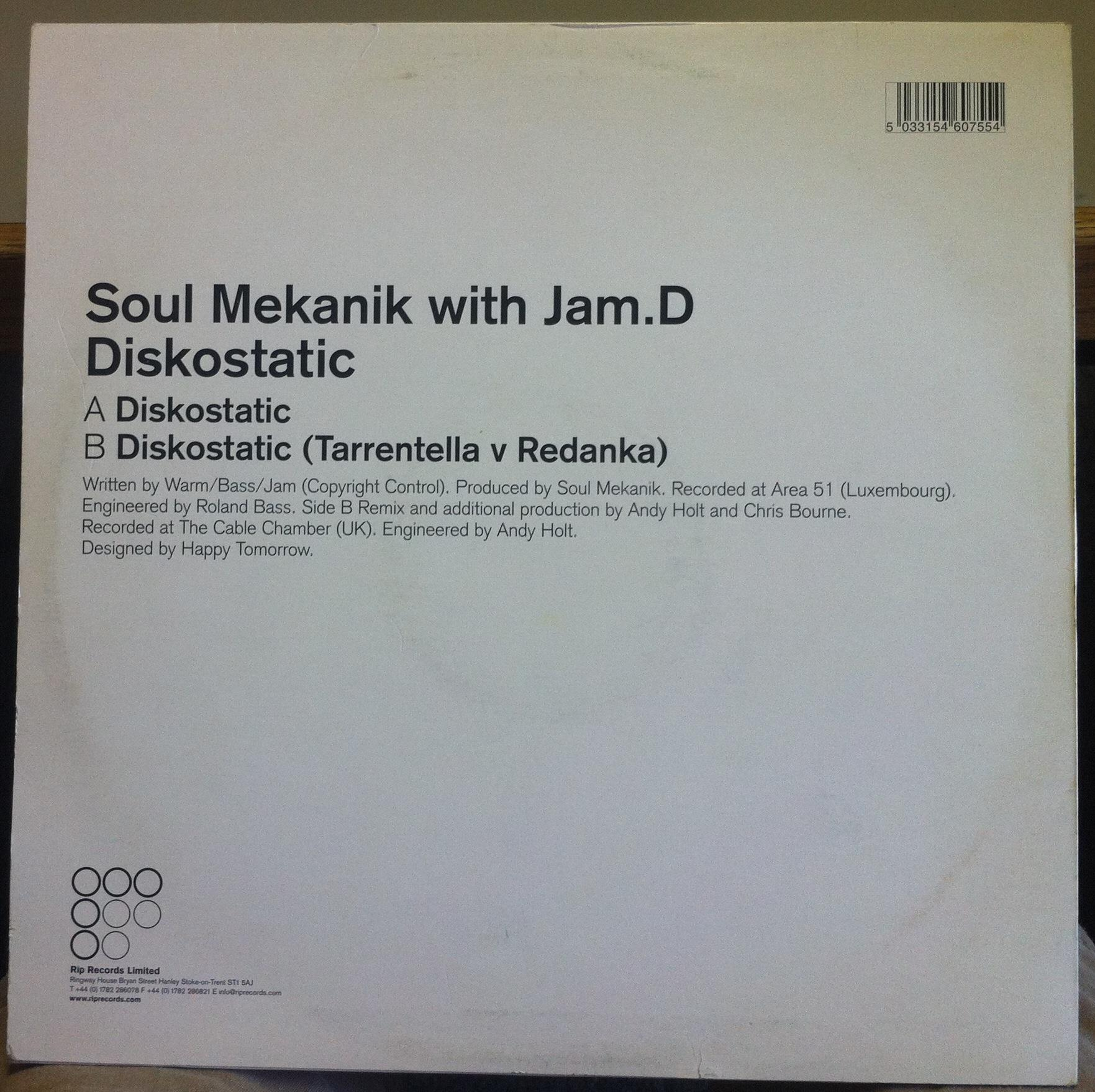 "Soul Mekanik with Jam.D - Soul Mekanik With Jam.d Diskostatic 12"" Vg+ Ript 002 Uk House 2000 Record (diskostatic)"