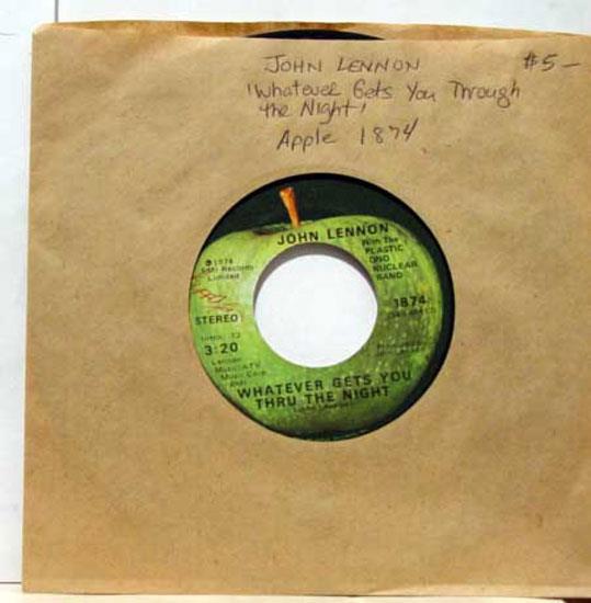 """John Lennon - John Lennon Whatever Gets You Thru The Night / Beef Jerky 7"""" Vg 45 Apple 1874 (whatever Gets Yo"""