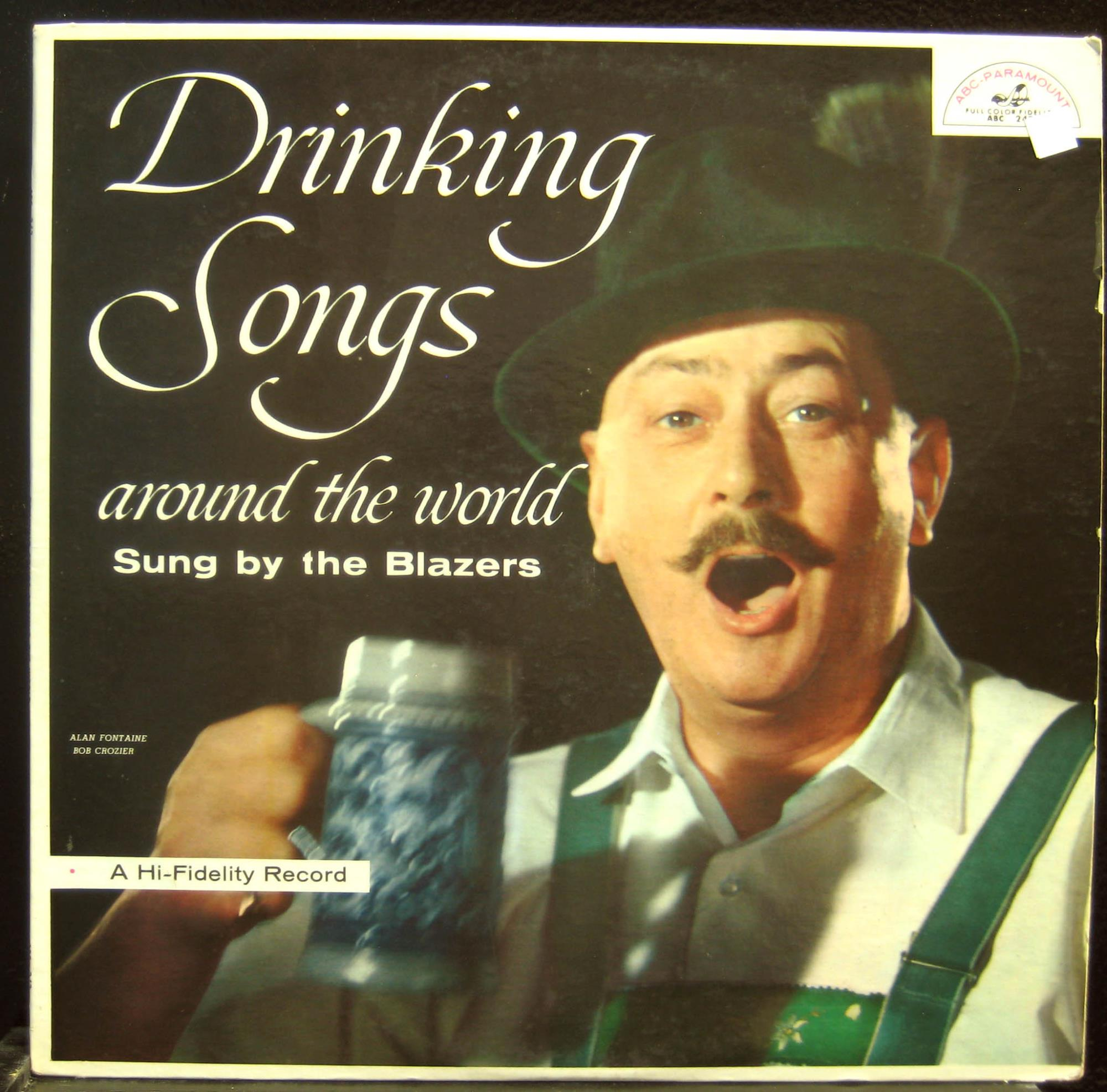 BLAZERS - The Blazers Drinking Songs Around The World Lp Vg Abc 243 Vinyl 1958 Record (drinking Songs Around T