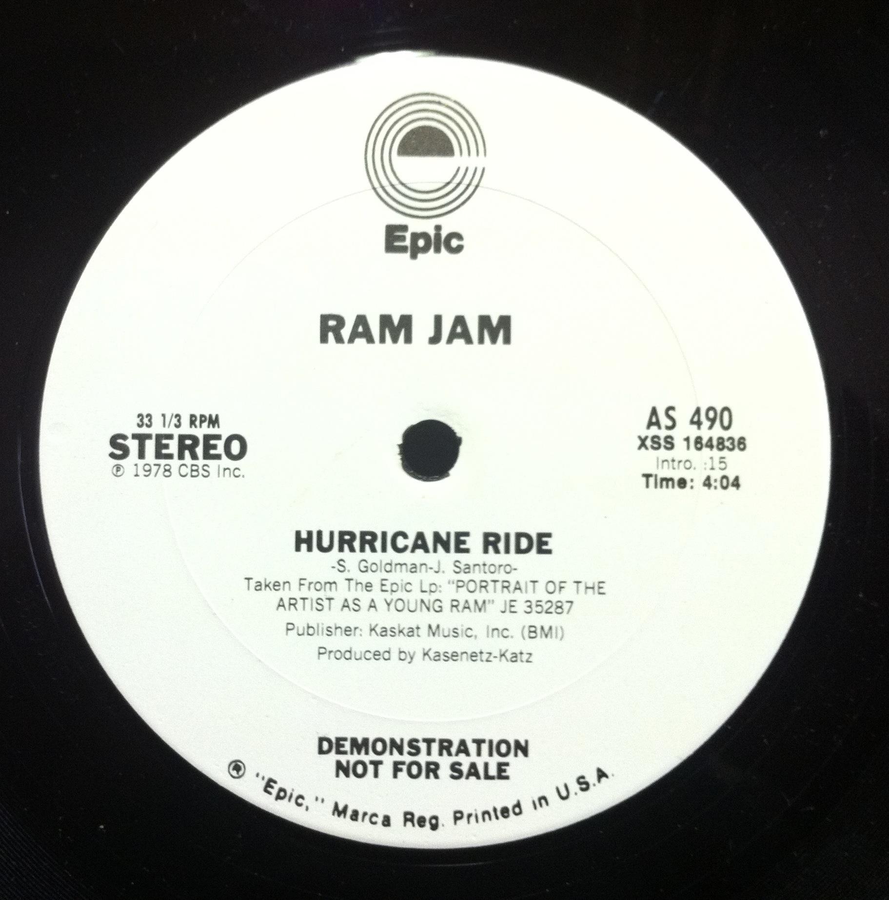 "RAM JAM - Ram Jam Hurricane Ride 12"" Vg+ Wl Promo Wlp As 490 Vinyl 1978 Record (hurricane Ride)"