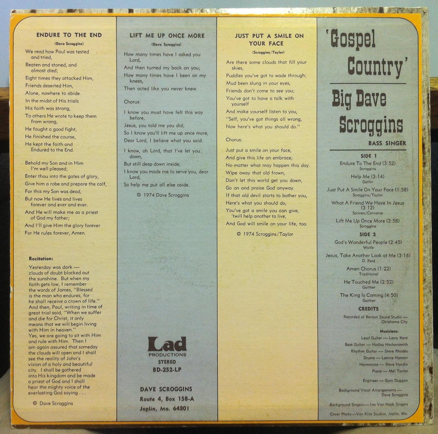 Gospel country by Big Dave Scroggins, LP with shugarecords