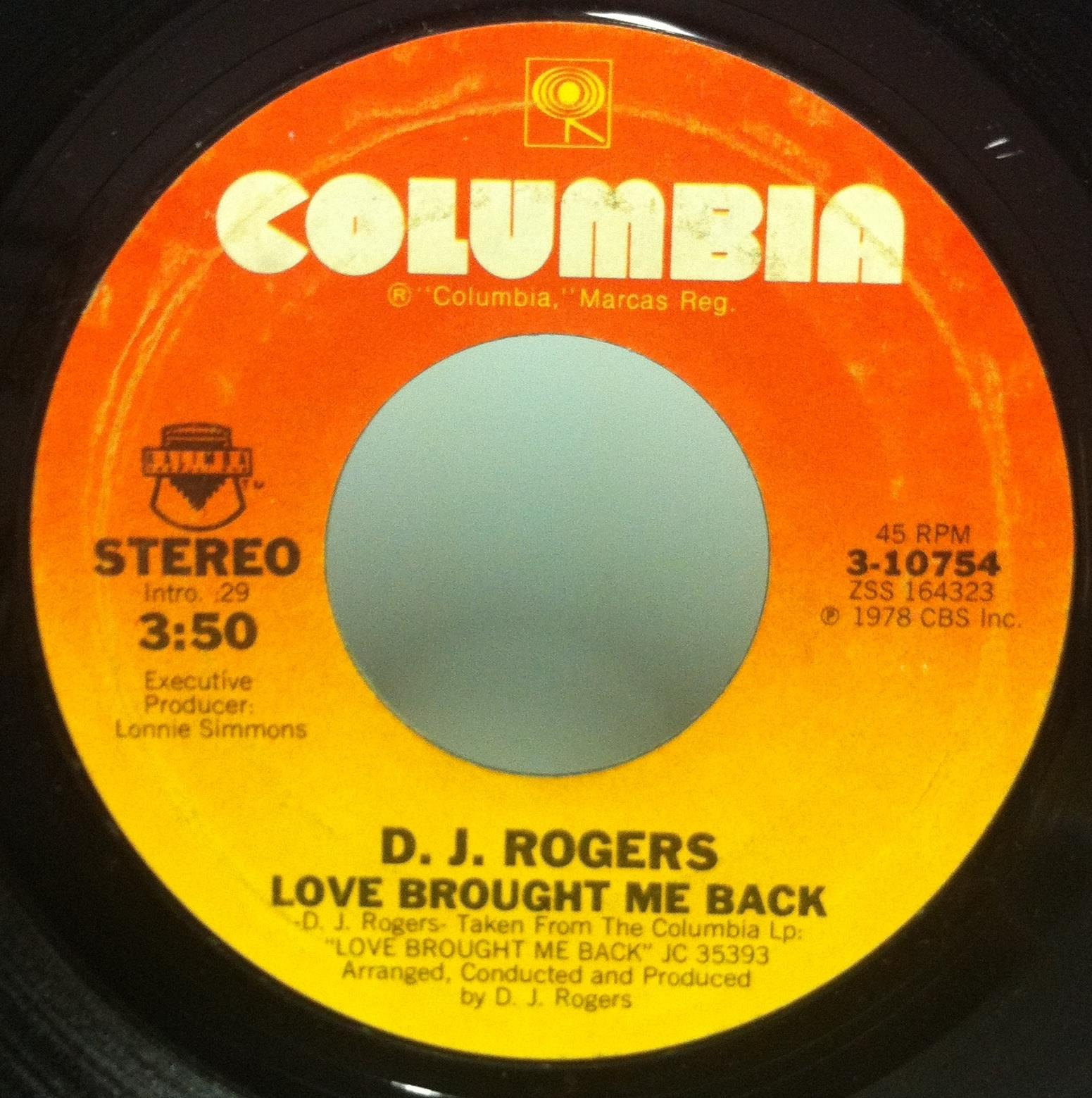 7quot D J Rogers Love Brought Me Back  Part 2 Vg 310754 Funk 45 1978 Us love Brought Me Back