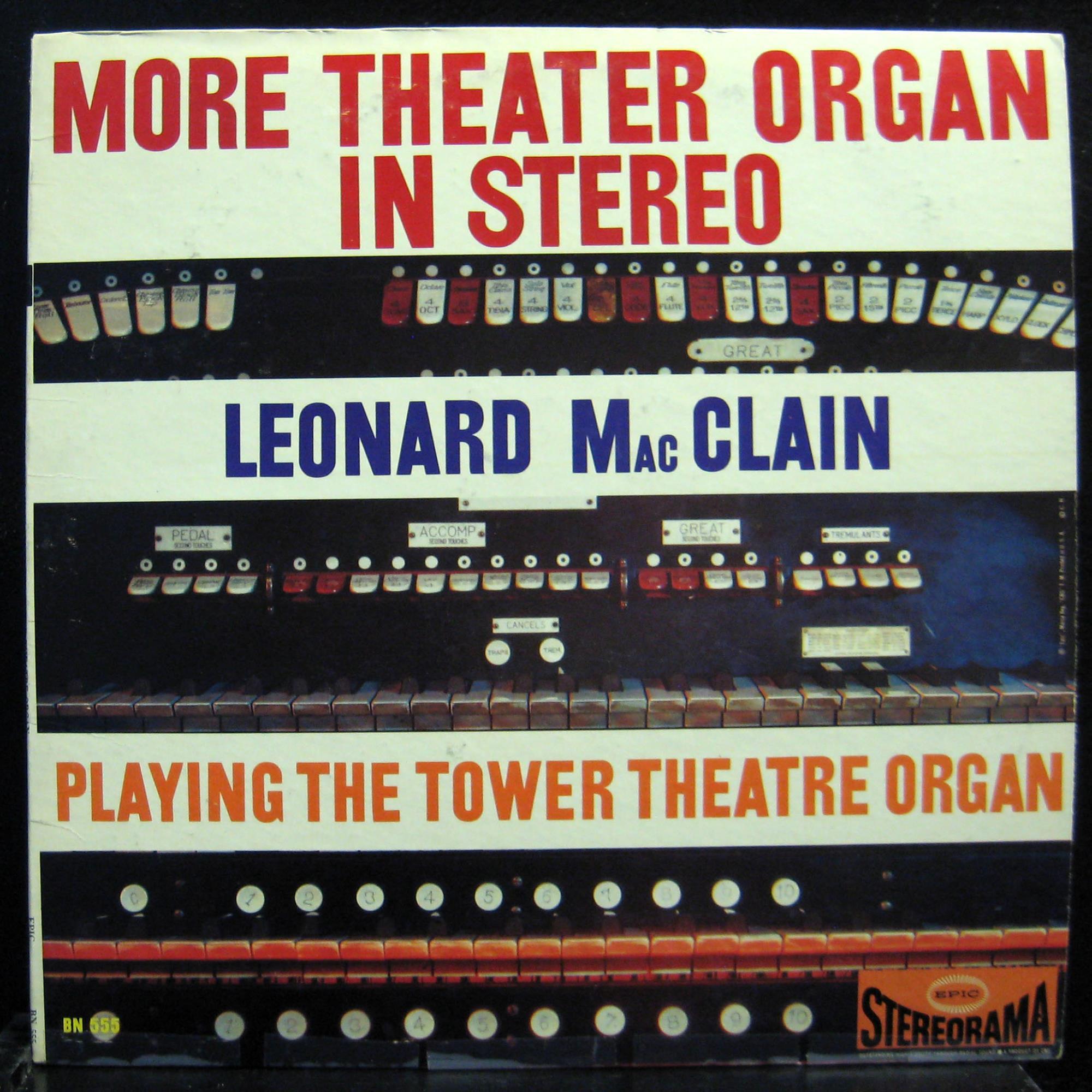 Leonard Macclain More Theatre Organ In Hi Fi Lp Vg Bn 555