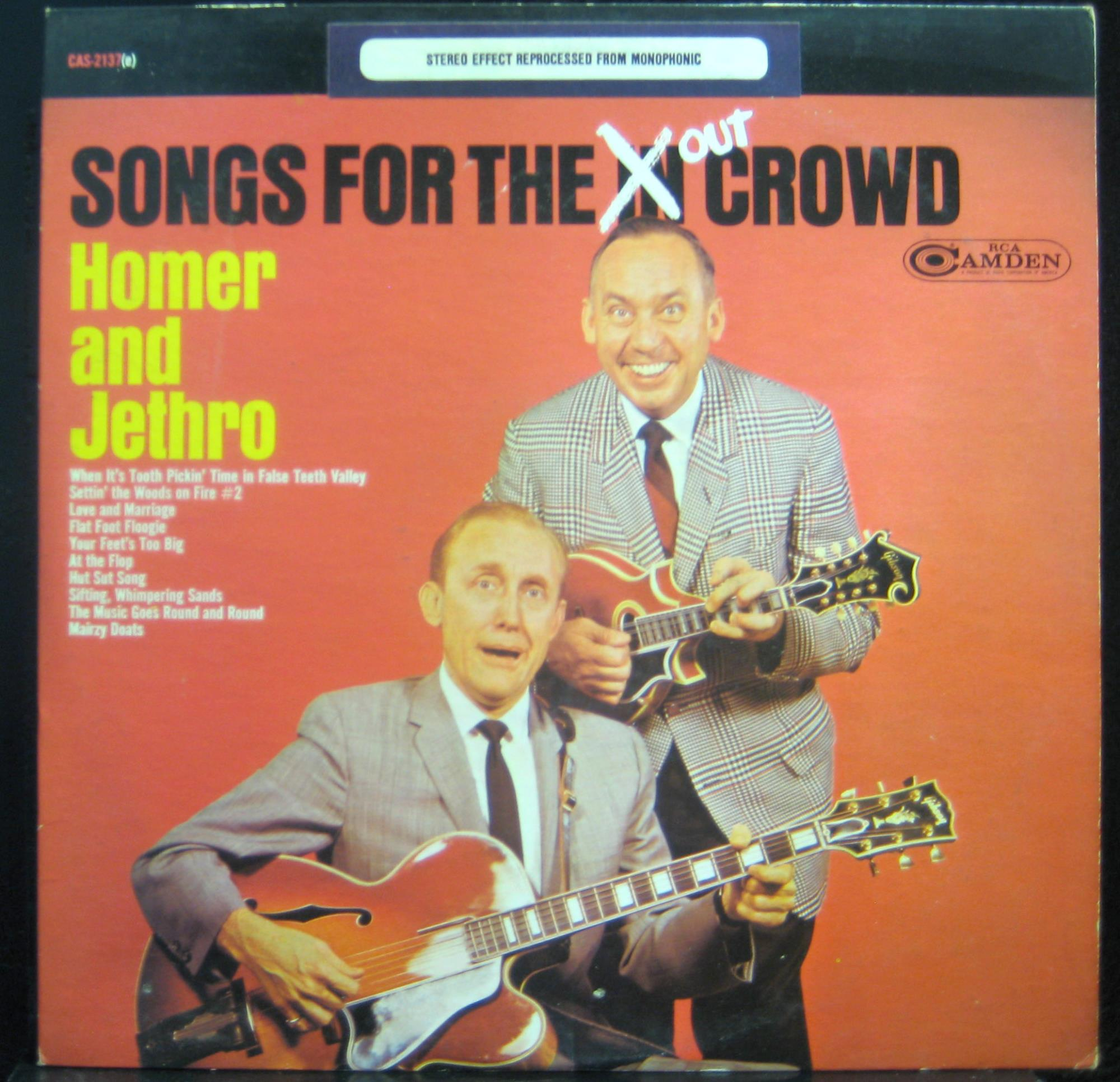 HOMER & JETHRO - Homer & Jethro Songs For The Out Crowd Lp Vg Cas 2137 Vinyl 1967 Record (songs For The Out Crowd
