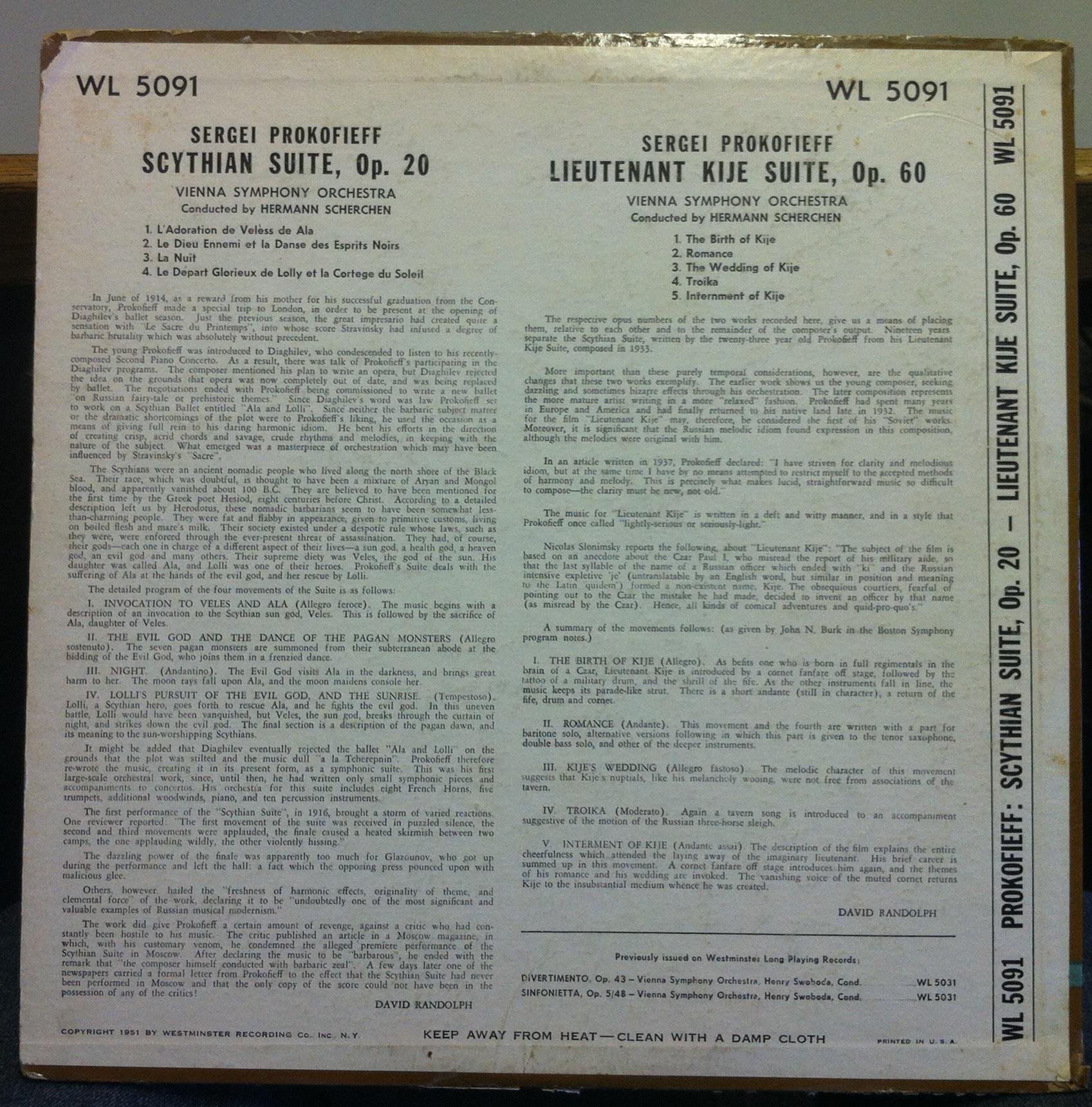 Prokofieff scythian & lieutenant kije by Hermann Scherchen, LP with  shugarecords