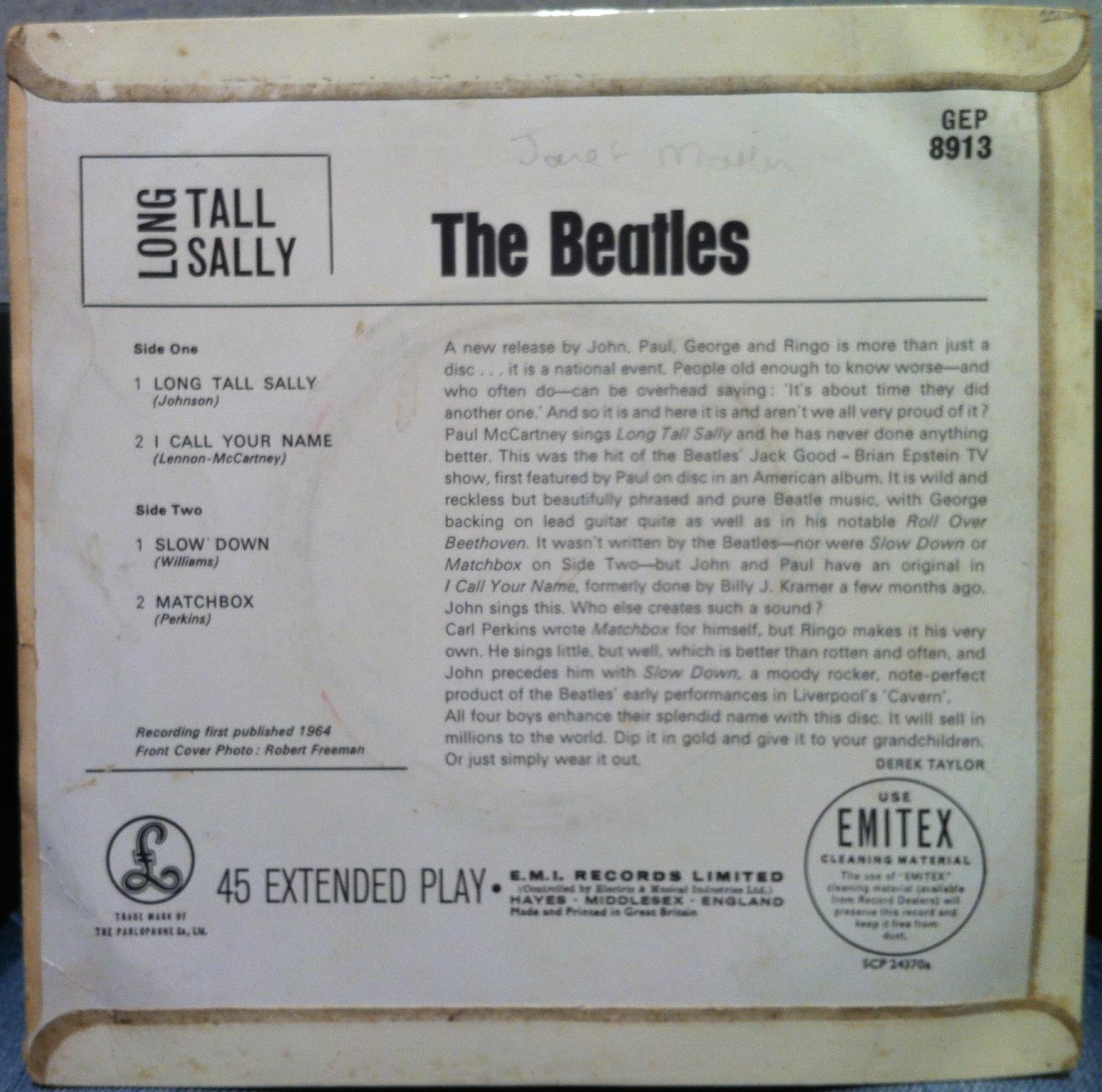 The Beatles Long Tall Sally 7 Quot 1st Press Uk Ep Vg Gep