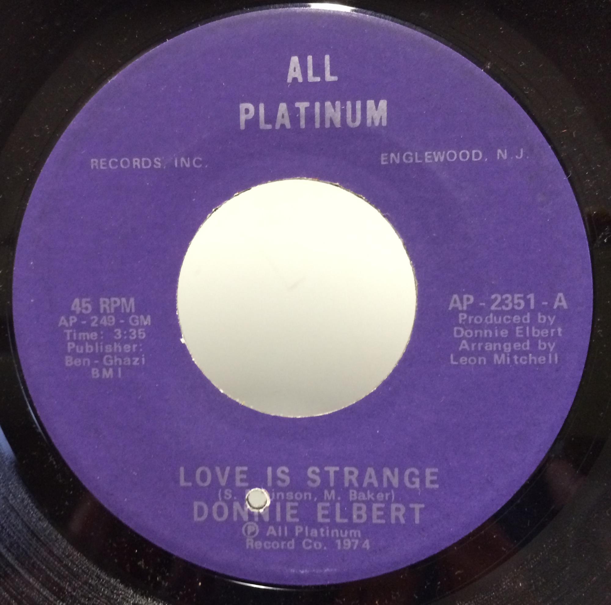 Donnie Elbert - Love Is Strange / Instrumental Record