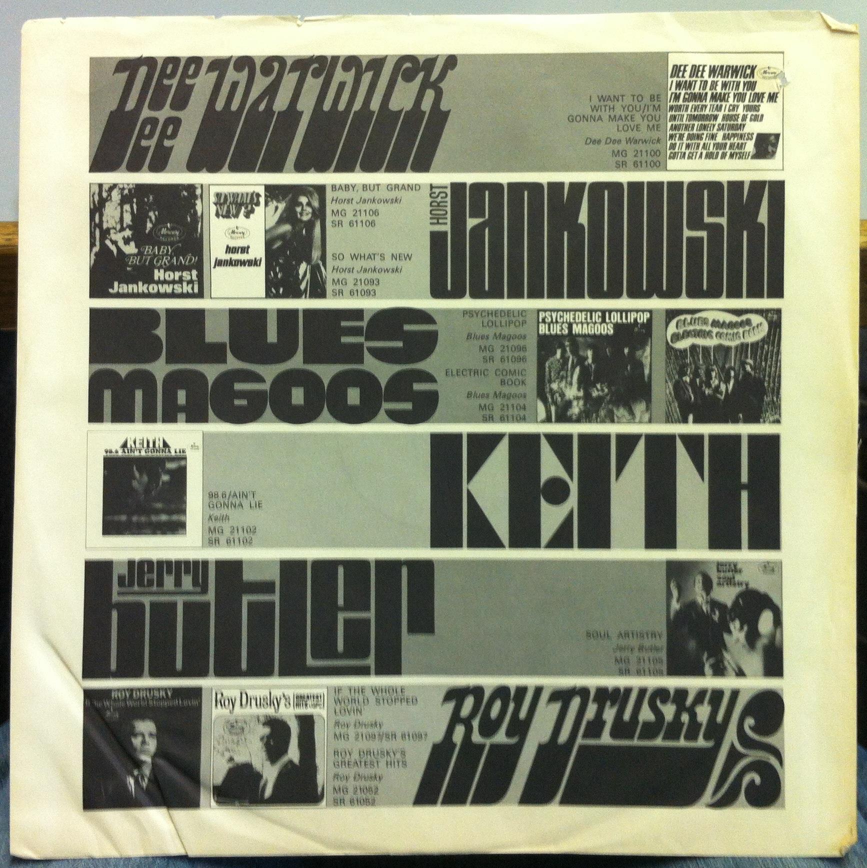 MERCURY RECORDS USA Inner Sleeve Ad Original US Rock W
