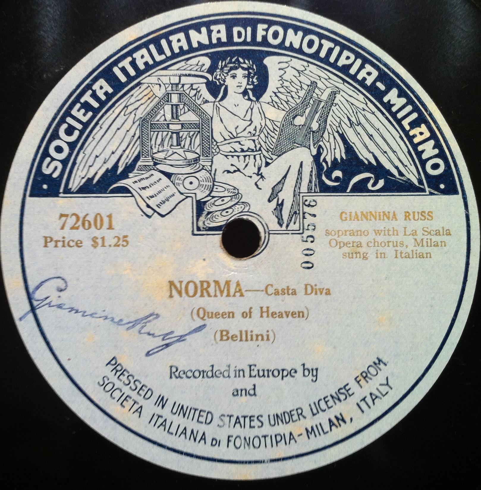 Giannina russ bellini norma casta diva 10 vg 72601 rare italian 78 single sided - Norma casta diva bellini ...
