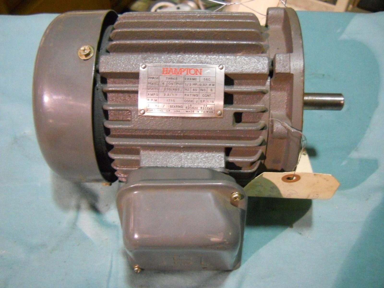 Hampton 1 2 hp 3 phase motor 230 460v 1710 rpm 56c for 1 4 hp 3 phase motor