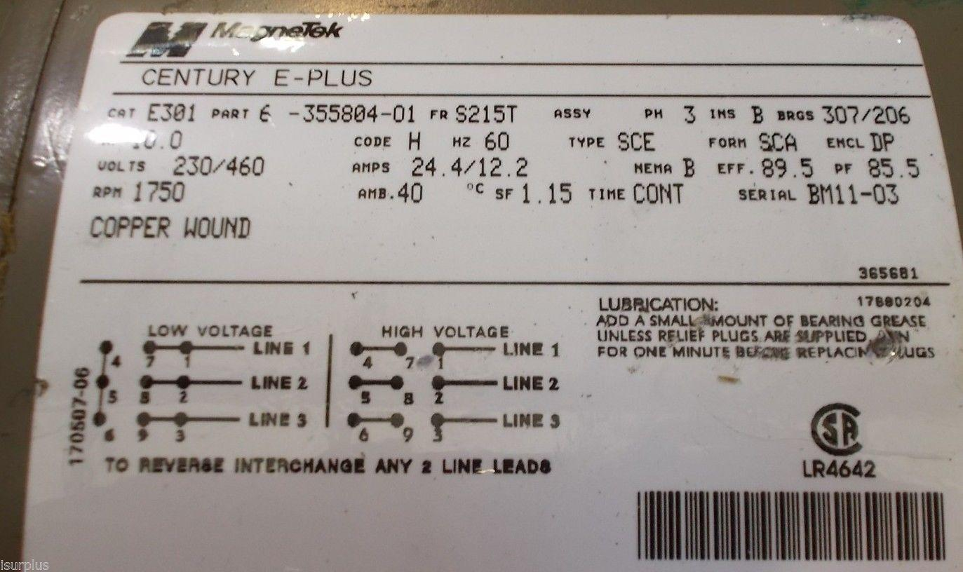 Magnetek Century E Plus 10 Hp Motor Cat E301 Part 6 355804