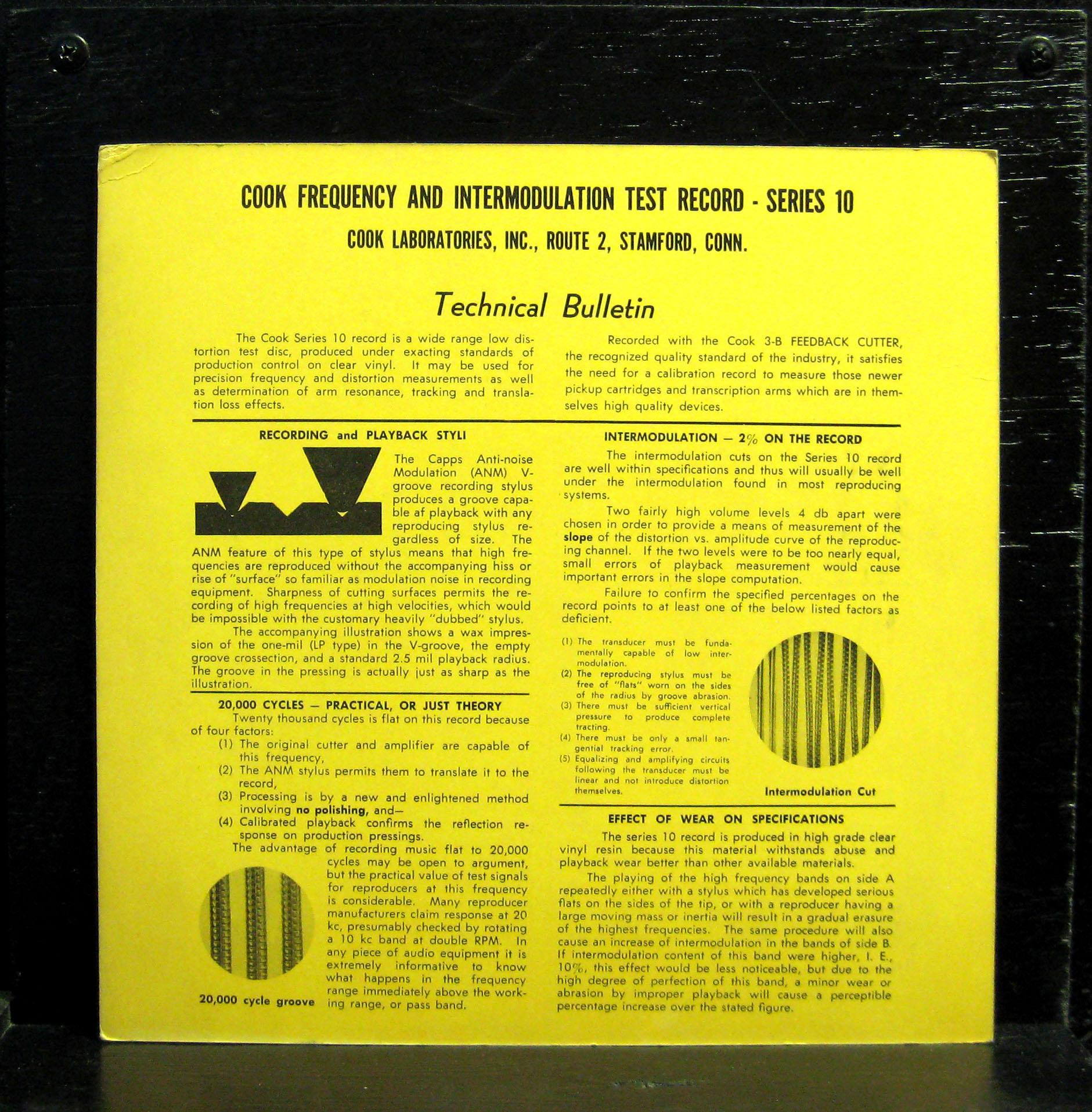 Cook Test Record Frequency & Intermodulation