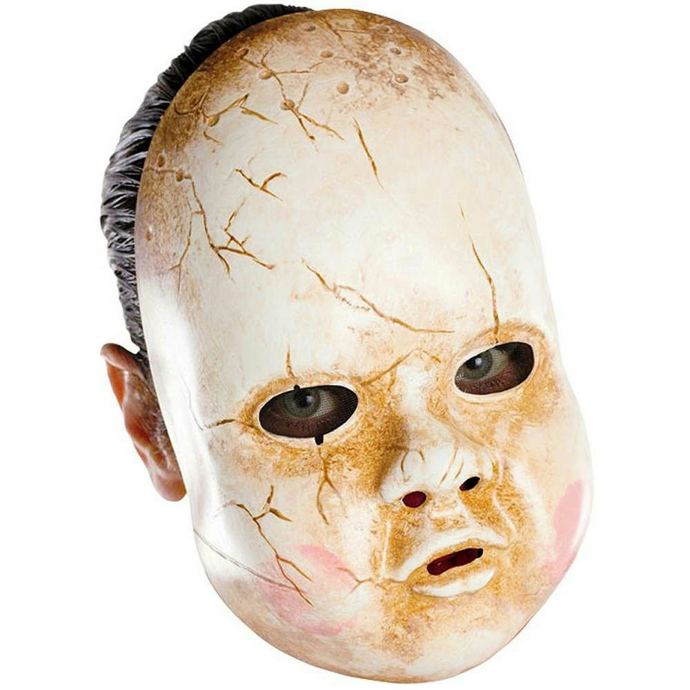 Dirty Cracked Porcelain Plastic Creepy Scary Baby Doll Adult Mask ...