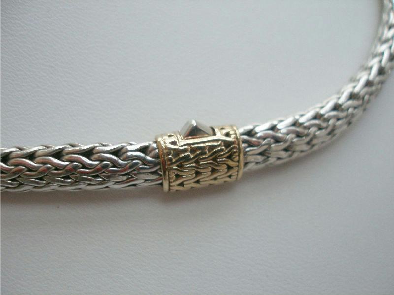 John Hardy 8mm 18k Sterling Silver Braided Chain 16