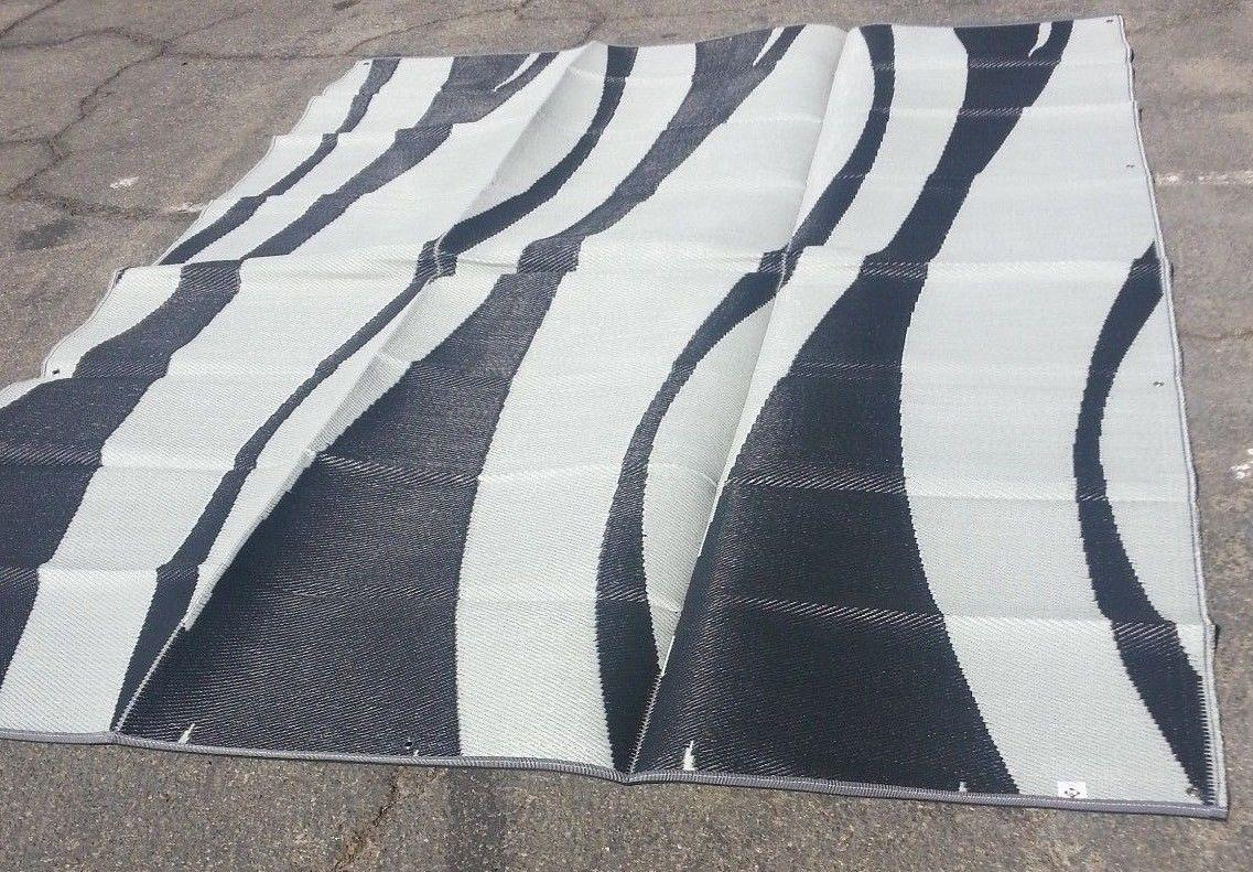 rv patio awning mat reversible outdoor rug 9x12 black. Black Bedroom Furniture Sets. Home Design Ideas