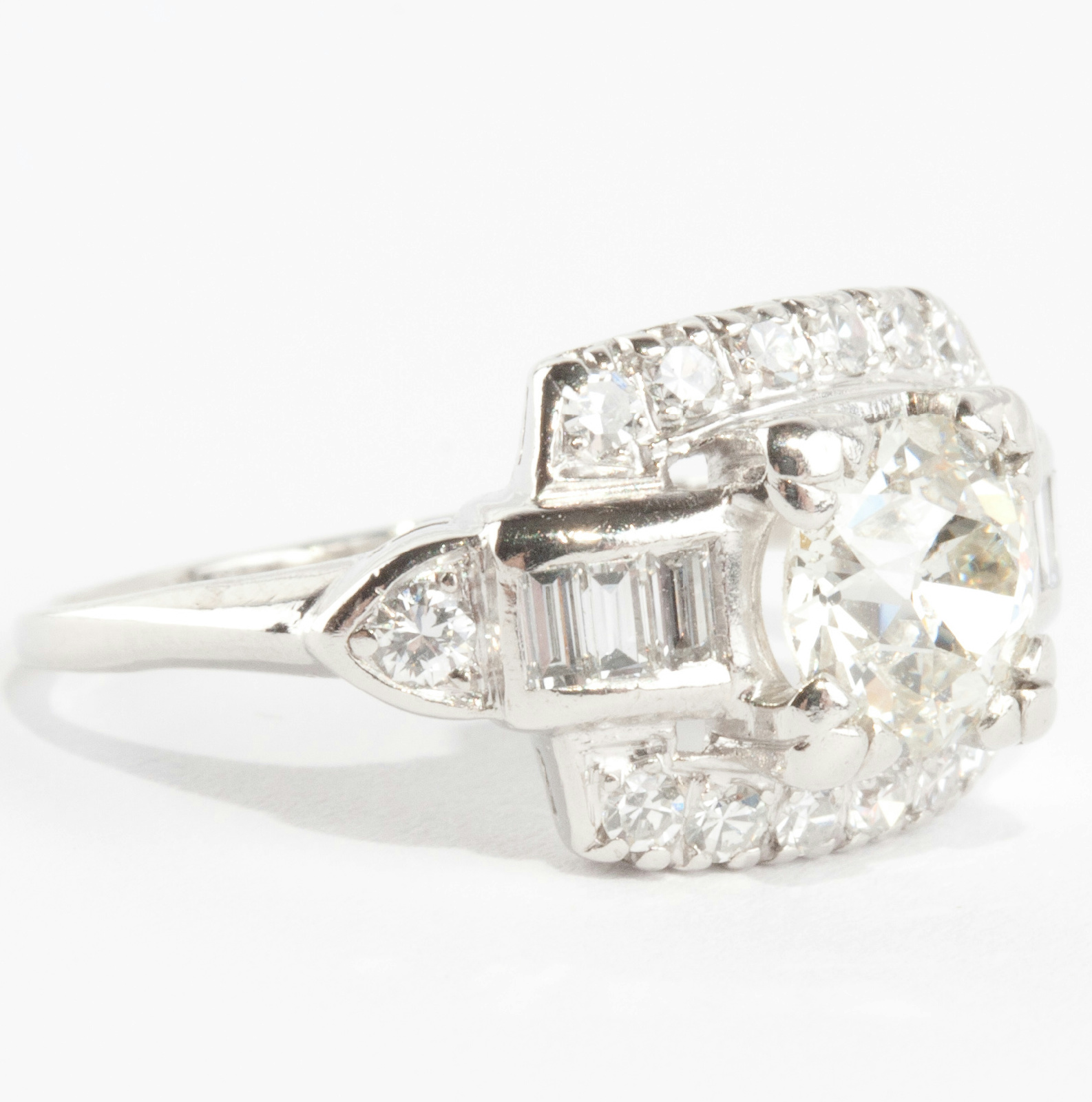 Ladies Vintage 1930's Platinum Old European Cut Diamond