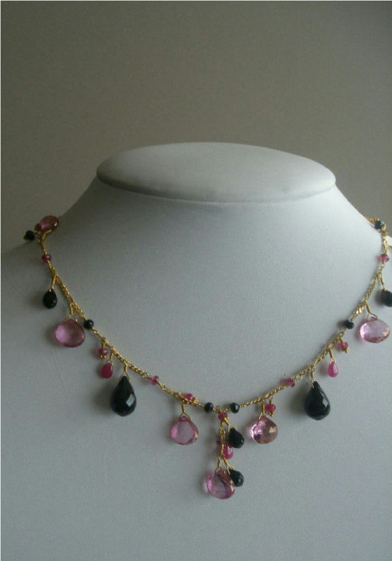 Laura Gibson 22k Gold Necklace Black Pink Tourmaline Onyx