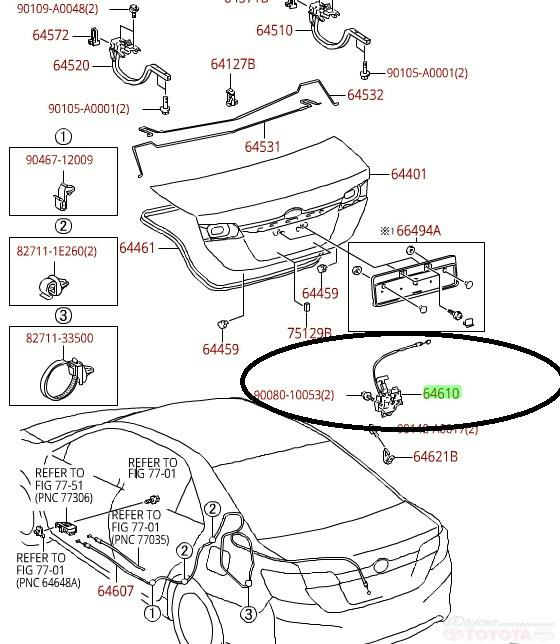 Genuine Toyota Oem Trunk Latch Assembly Camry Avalon 2012