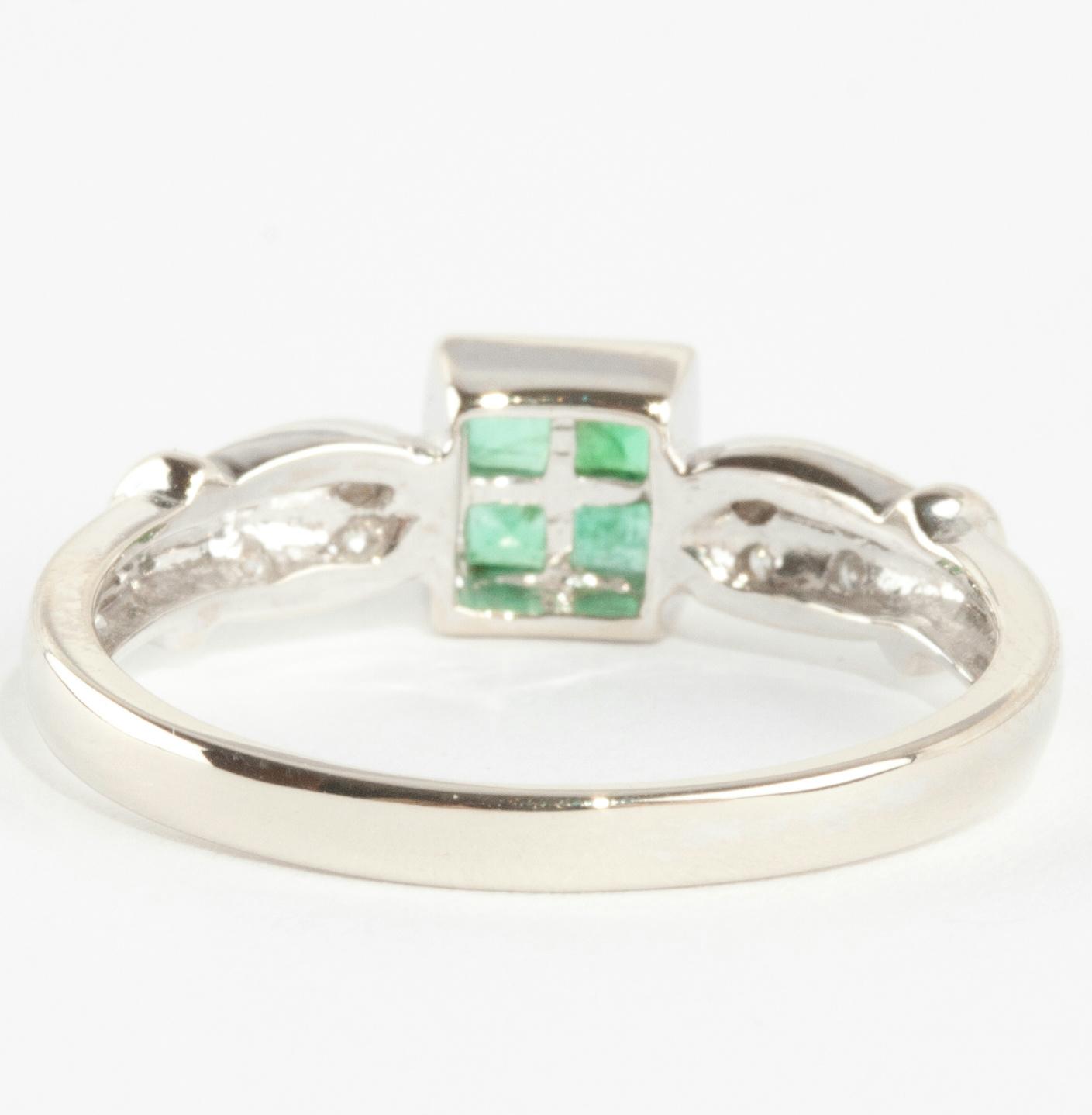 14k white gold square cut invisible set emerald