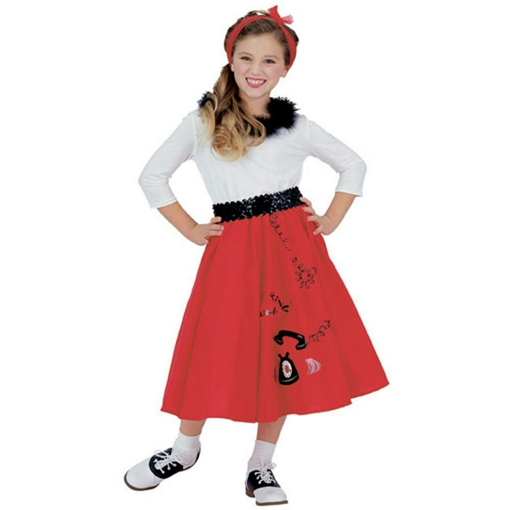 7f64edf52be8 Description. Jitterbug Girl 50's Childs Halloween Costume includes Red  poodle skirt ...