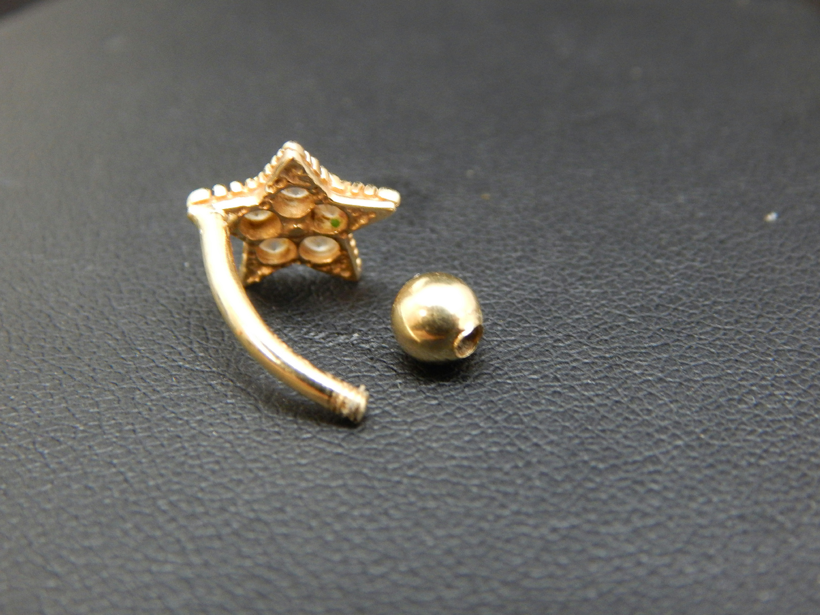 14kt yellow gold belly button ring w rhinestones ebay