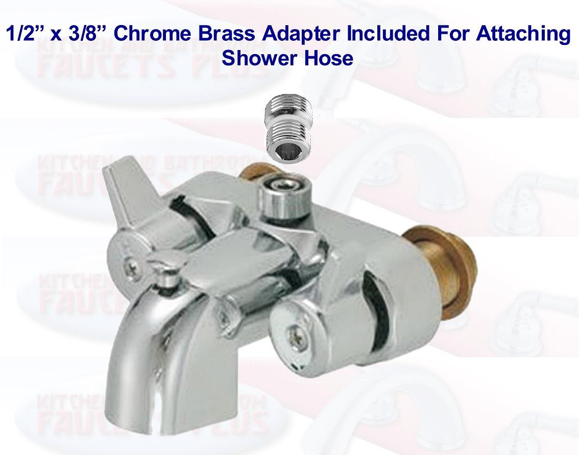 "3-3/8"" Chrome Heavy Brass Clawfoot Tub & Shower Diverter Add-A ..."
