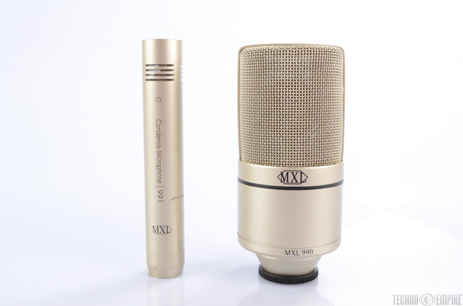 MXL 990 991 Recording Condenser Microphone Bundle w/ Mini-Boom Mic Stand #21653