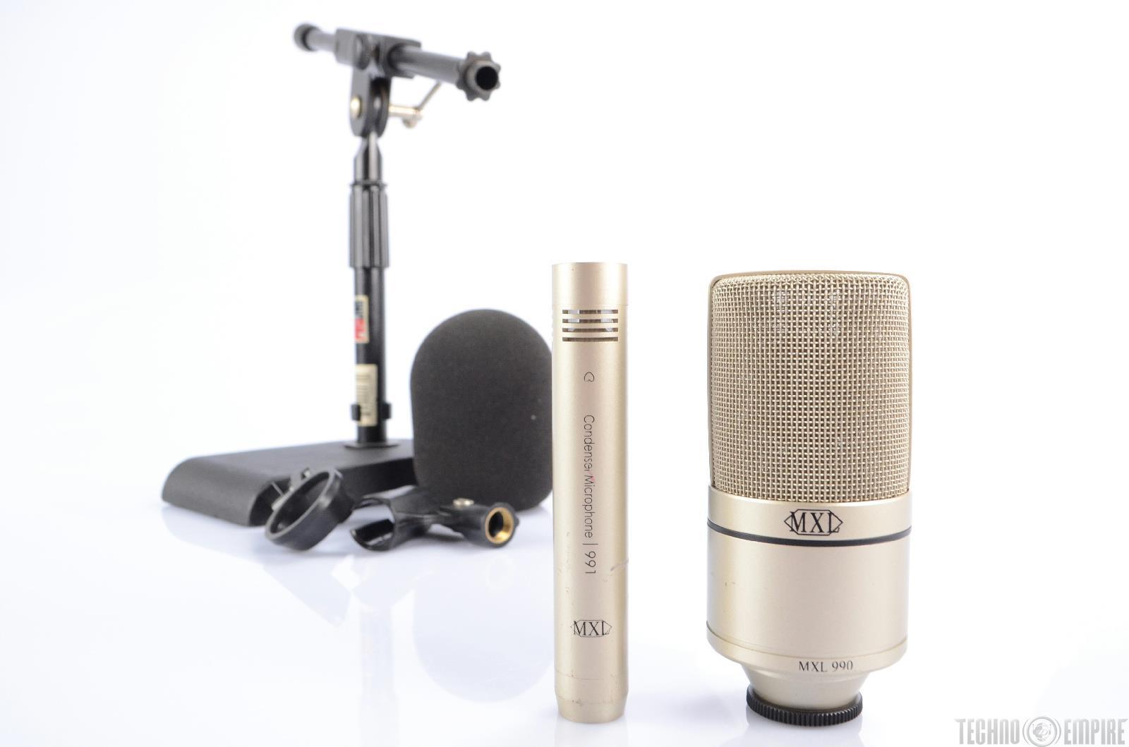 MXL 990/991 Recording Condenser Microphone Bundle w/ Mini-Boom Mic Stand #21653