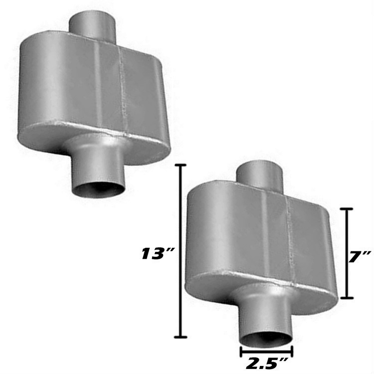 "PAIR of Single Chamber Performance Muffler 2.5"" center / center two ..."