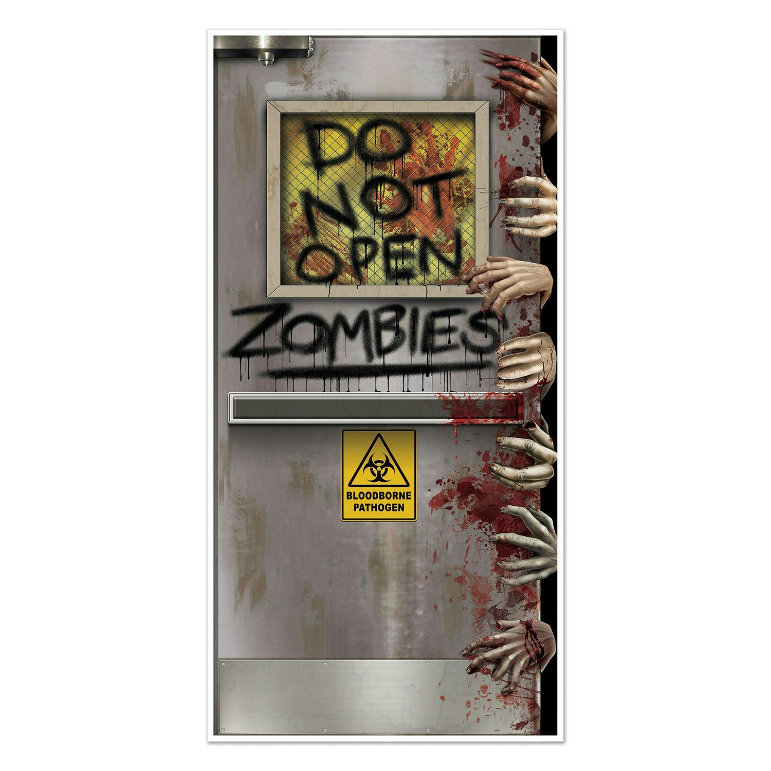 Beistle zombies lab door cover halloween decoration ebay for Decoration zombie