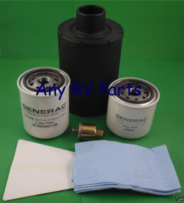 generac generator pm maintenance kit 0e1744 0e1744wsrv includes: oil filter  0709390126, fuel filters 0d8914 & 069858, air filter 0c4880