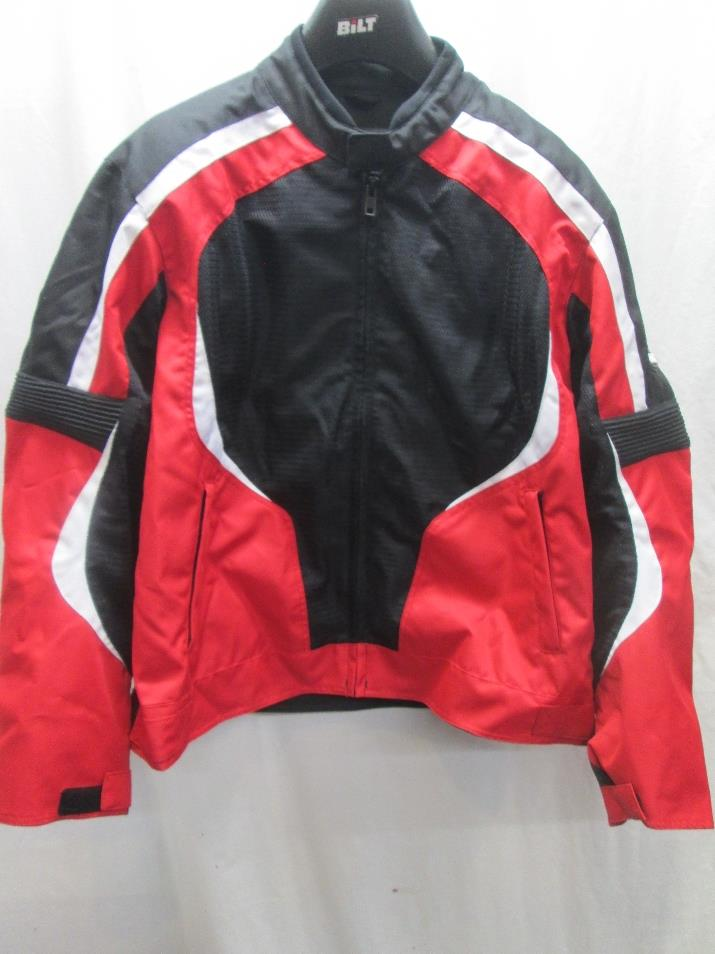 bilt racer mesh motorcycle jacket mens red 2xl xxl ebay. Black Bedroom Furniture Sets. Home Design Ideas