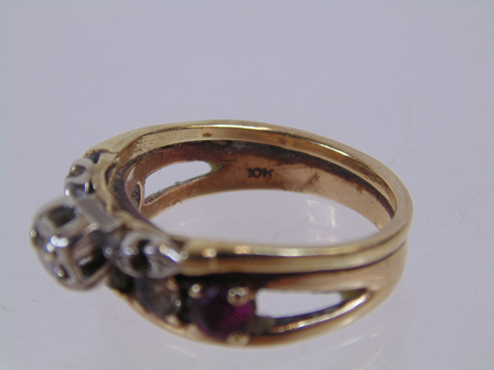 10k yellow white gold jewelry rings sautered together