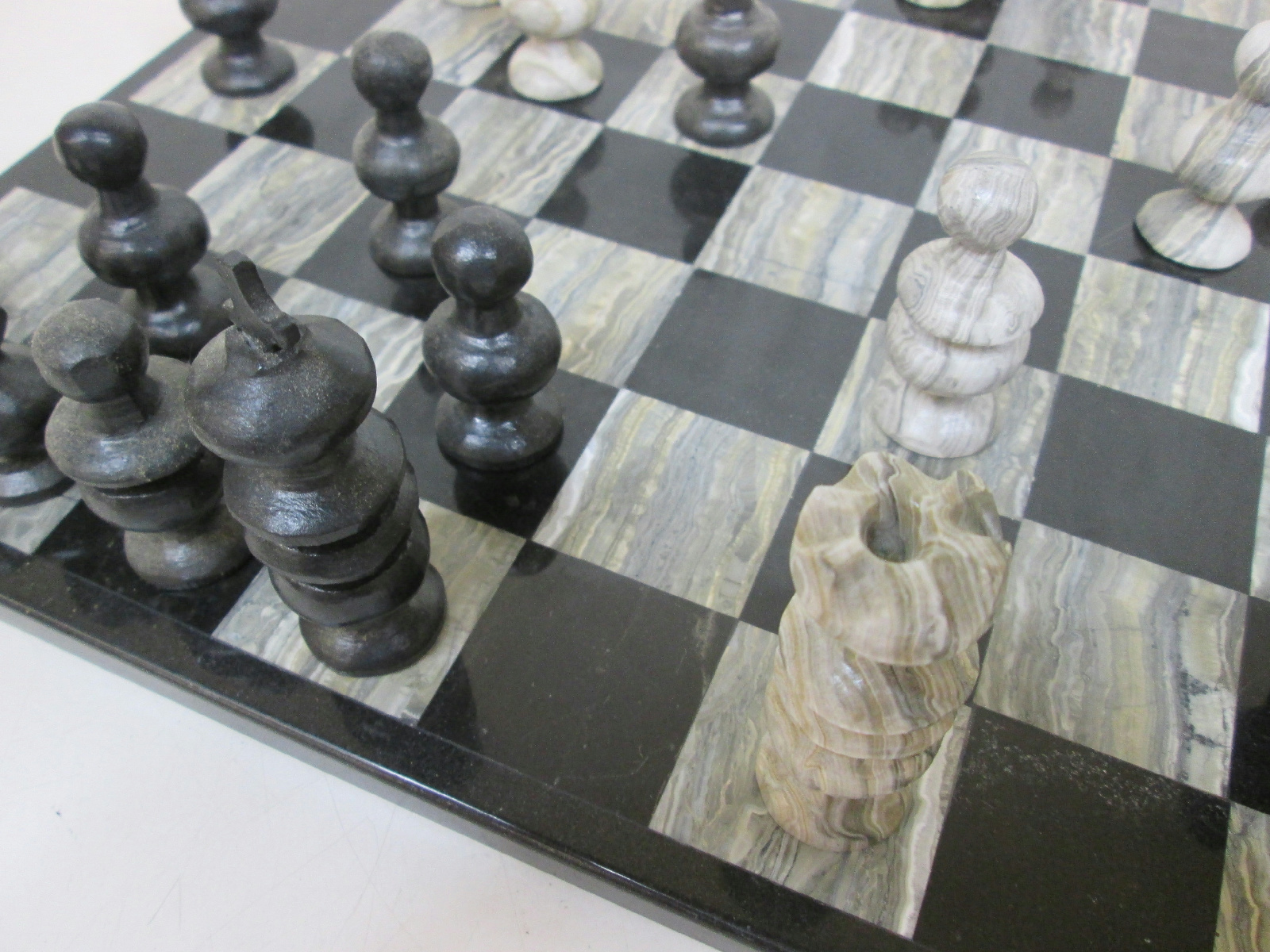 Vintage marble chess board with hand made stone pieces made in mexico - Granite chess pieces ...