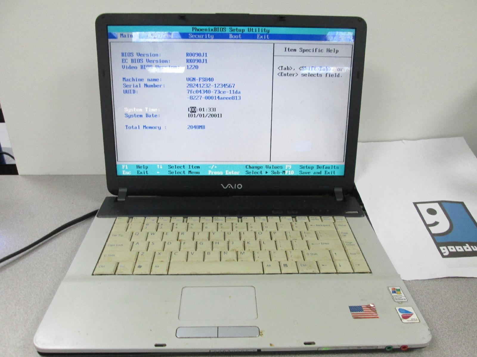 Vgn-fs840 w
