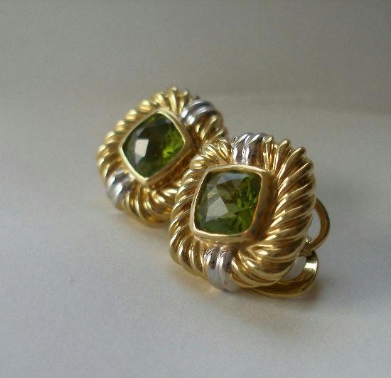 David Yurman 18k Gold Renaissance Peridot Earrings Omega