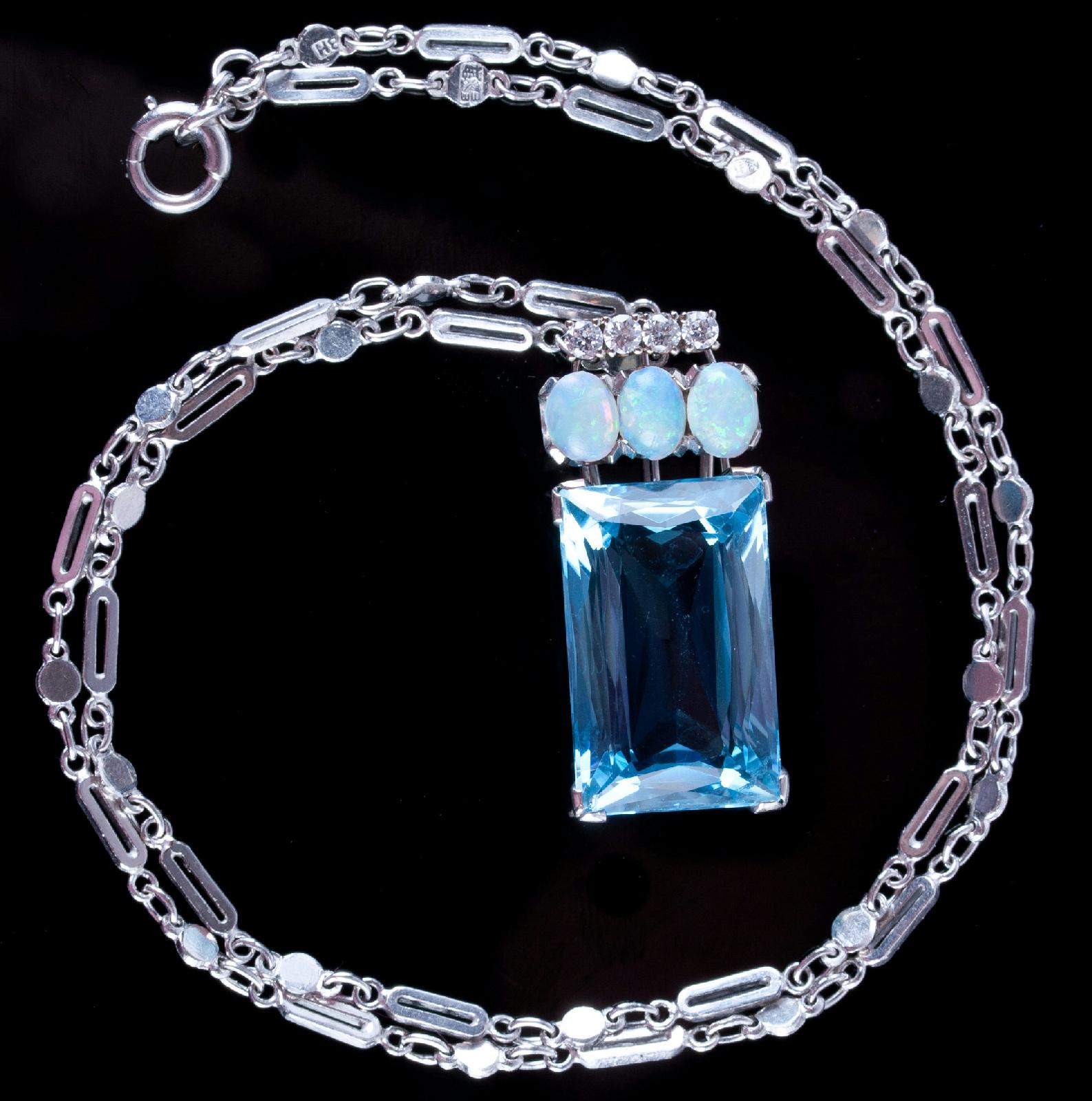 Aquamarine Necklaces: Vintage 1970s Platinum Emerald Cut Aquamarine / Opal