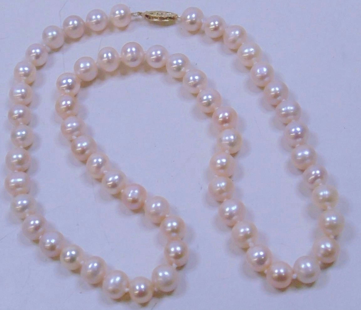 Pearl Necklace Clasp: Knotted Pink Pearl Necklace Jewelry W/ 14kt Yellow Gold