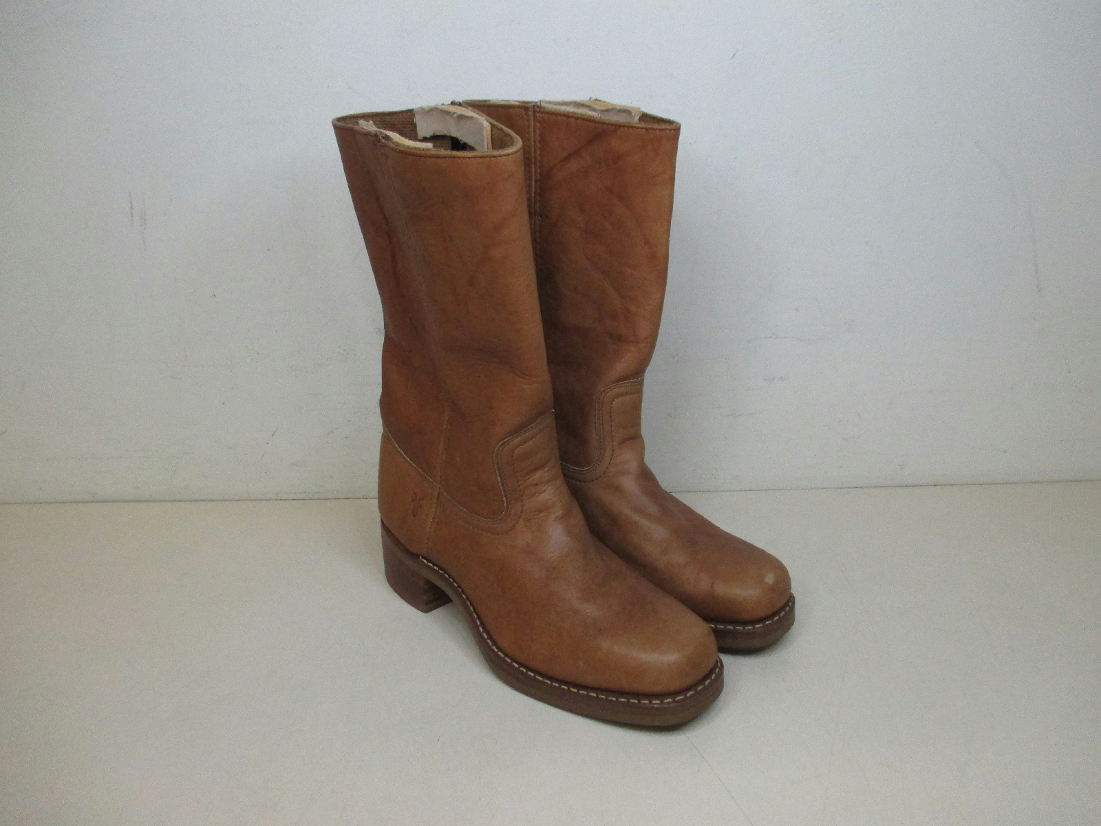 About frye brown leather square toe cowboy boots size 10 made in usa