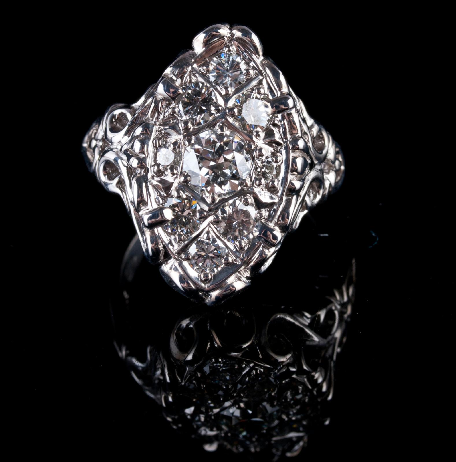 14k White Gold Custom Made Vintage Style Diamond Cluster