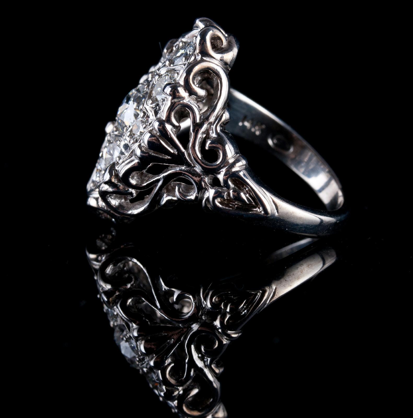 Custommade Diamond: 14k White Gold Custom Made Vintage Style Diamond Cluster